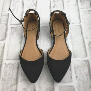 Bamboo black suede flats